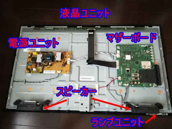液晶テレビの裏側カバーを外した写真