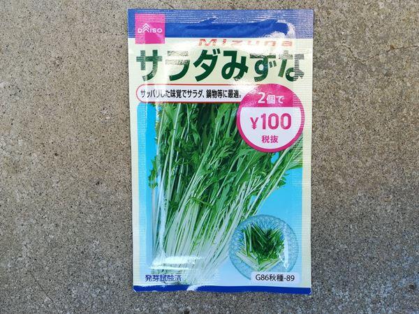 100円ショップのミズナの種