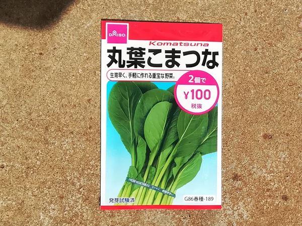 100円ショップのコマツナの種