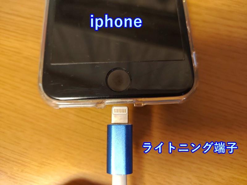 イヤホンの接続部分の写真(iphoneの場合)